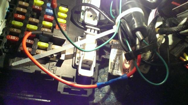 the power wire gets attached to the add-a-fuse  the add-a-fuse goes into  fuse 87 in the passenger fuse box  the usb adapter i zap straped out of the  way